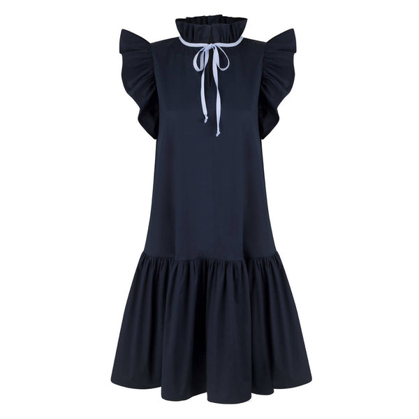 Angela Navy Cotton Dress - Space to Show