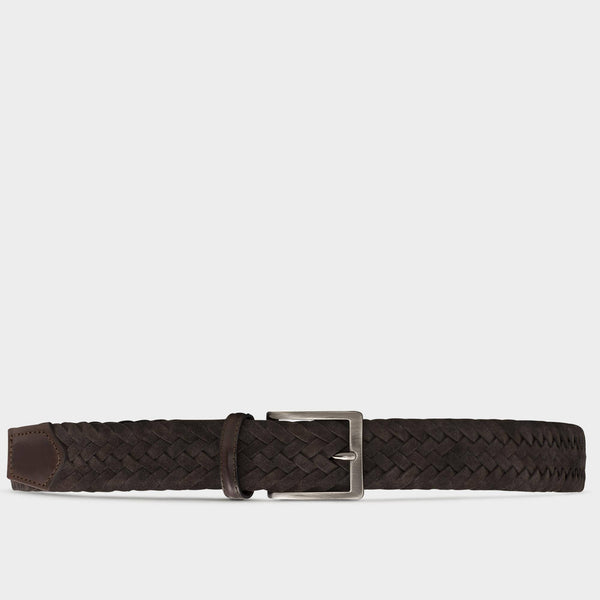 Braided Suede Belt Brown - Edoardo - Space to Show