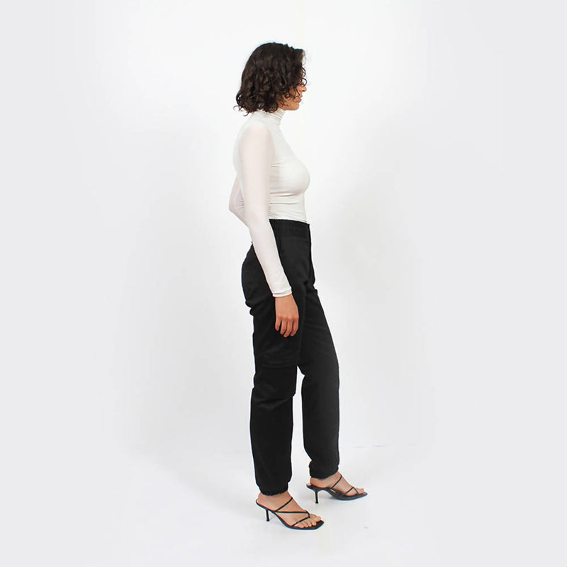 Pleated Adjustable Trousers : Black - Space to Show