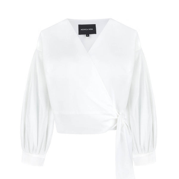 Sophie White Wrap Top