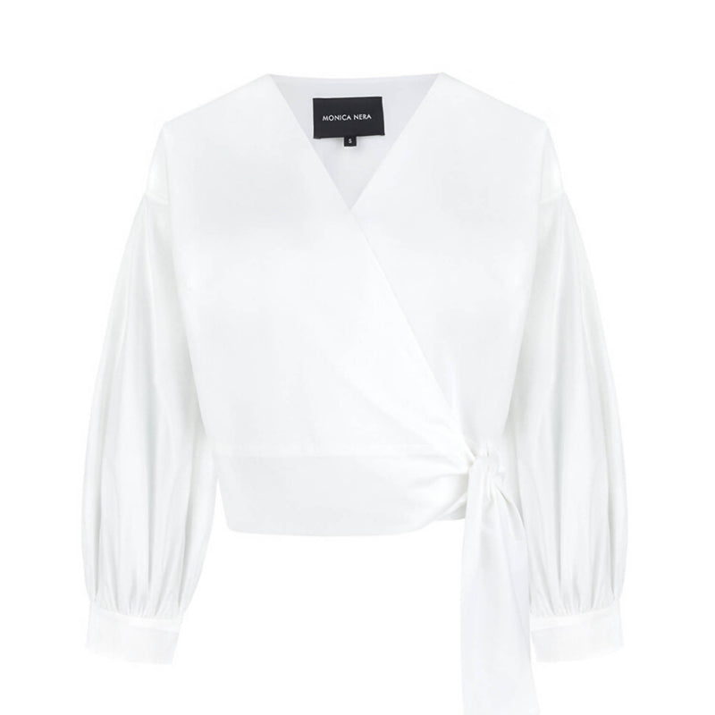 Sophie White Wrap Top - Space to Show