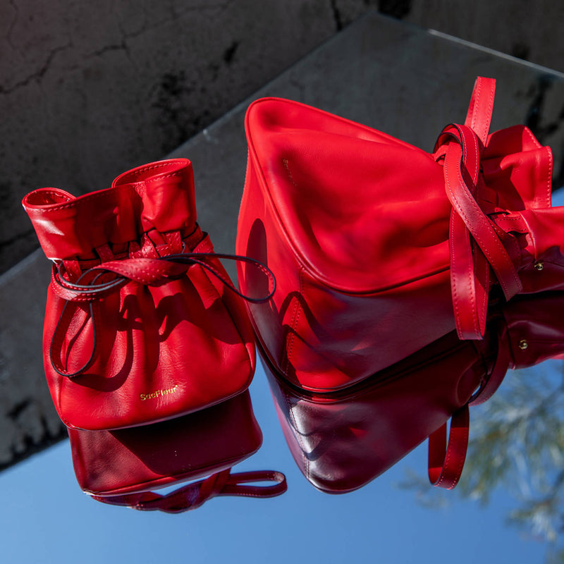 Mini Sacfleur leather bag in red - Space to Show