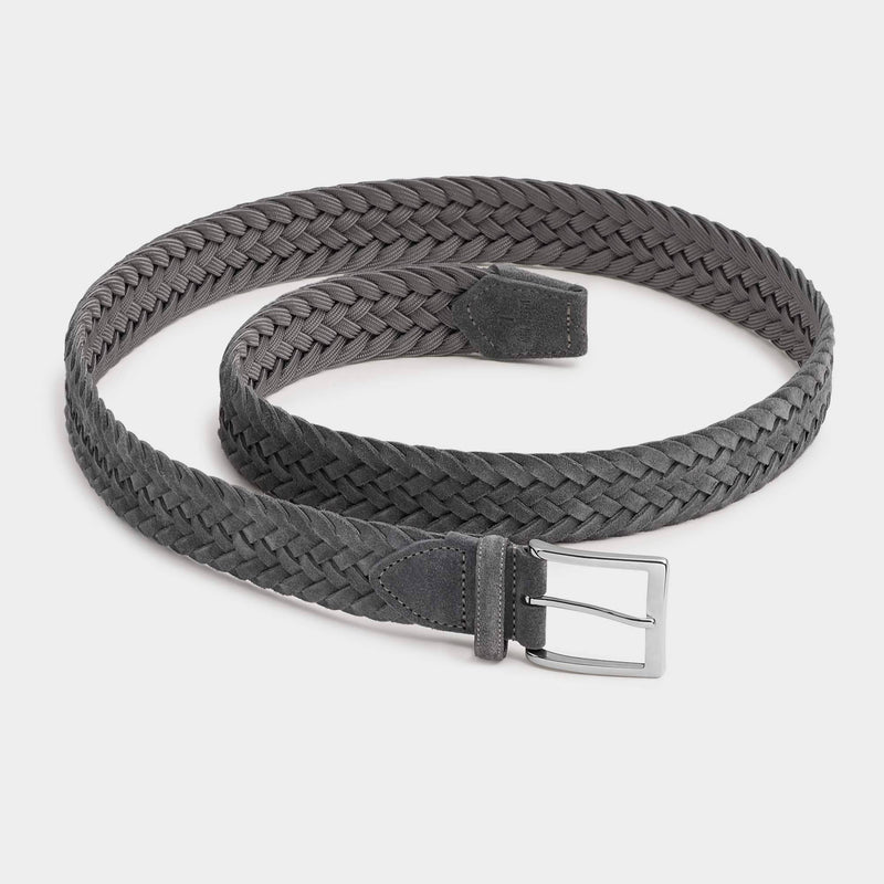 Braided Suede Belt Grey - Francesco - Space to Show