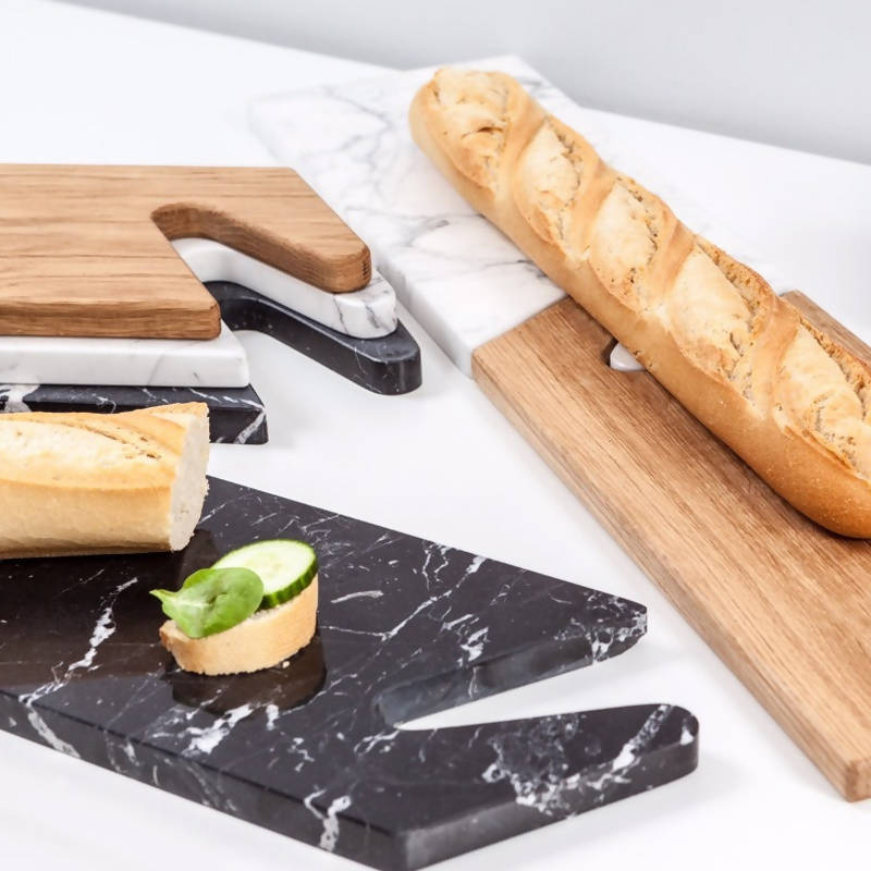 THE CONNECT Serving Boards Oak & Black Marble - Space to Show