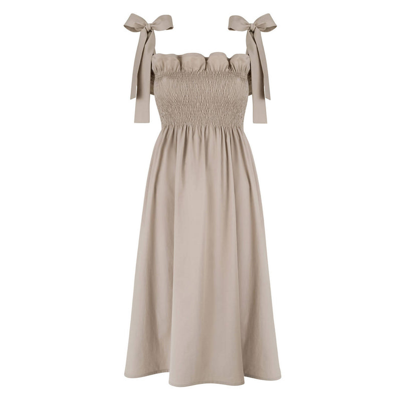 Patti Beige Cotton Dress - Space to Show