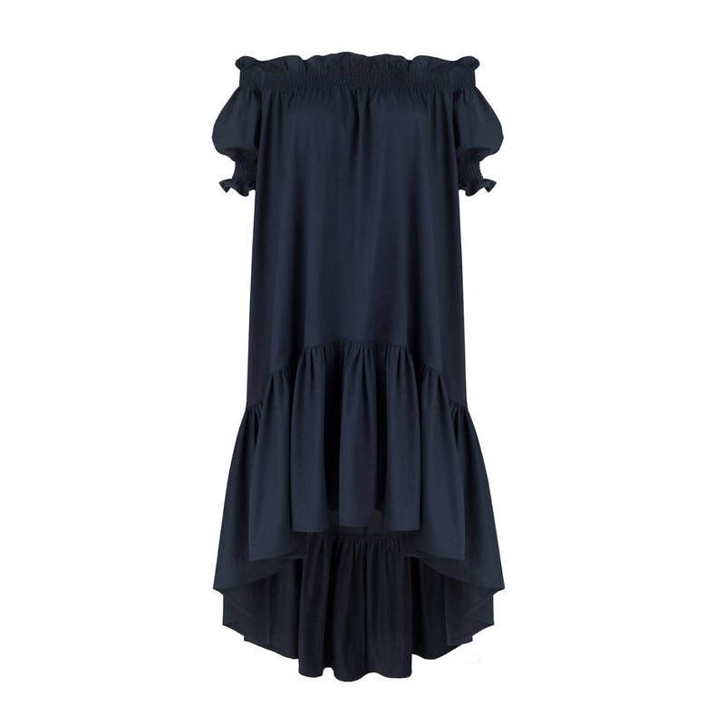 Lori Navy Cotton Dress - Space to Show