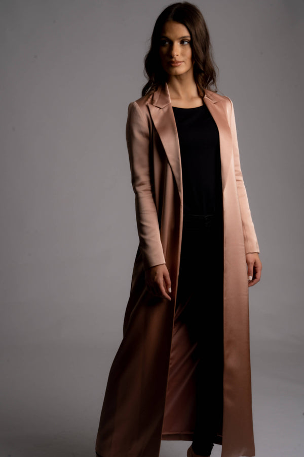 Alya Satin Belted Long Blazer Coat - Space to Show