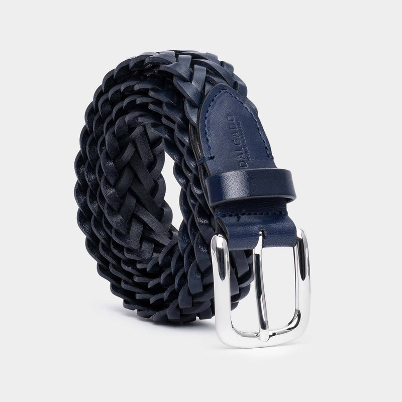 Hand-braided Leather Belt Blue - Gianfranco - Space to Show