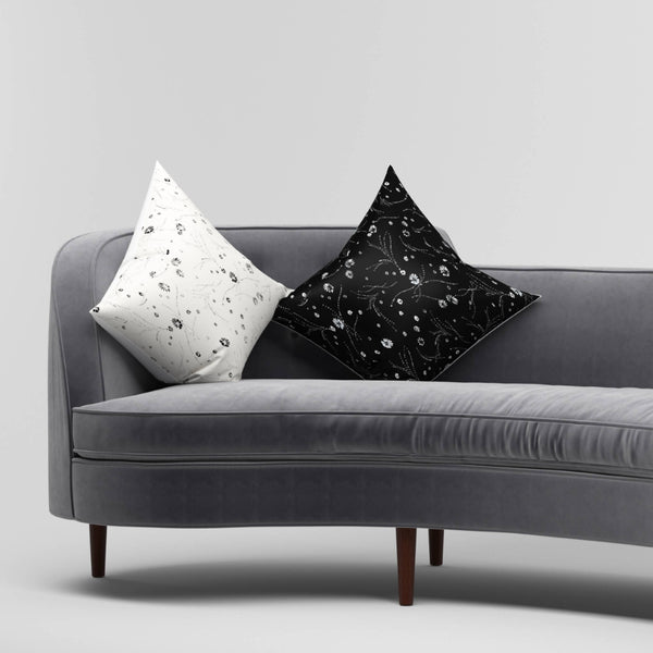 Black Silk Printed Cushion - Space to Show