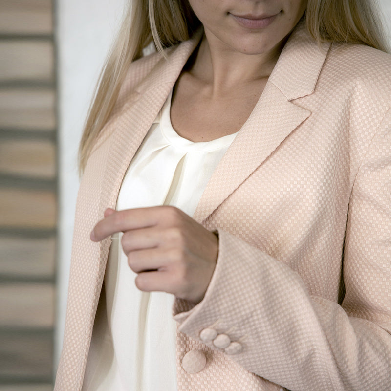 Vera Rosewater Fitted Cotton-Mix Blazer - Space to Show