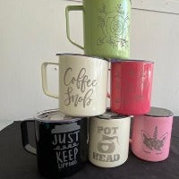Colored Mugs - Stainless 14 oz - With Etched Image