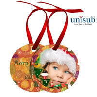 "Ornament - 2.5"" Round - Aluminum w/Ribbon"