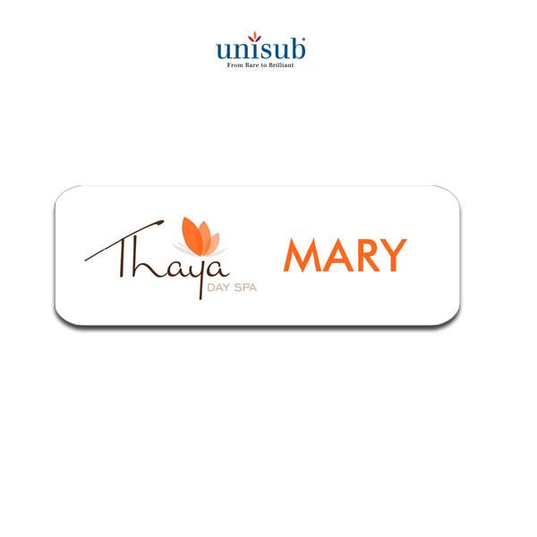 "Name Badge - 1.5"" x 3"" - White Gloss"