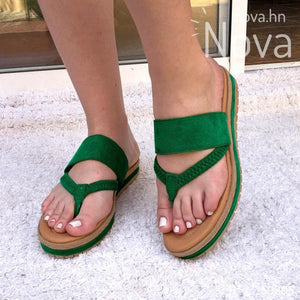 Sandalia No Tan Alta Hecha Totalmente De Gamuza Verde / 34 Normal Zapatos Medianos