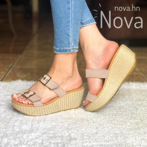 Sandalia Plataforma Mediana Ajustable De Gamuza. Elige Tu Color Favorito Beige / 34 Normal Zapatos