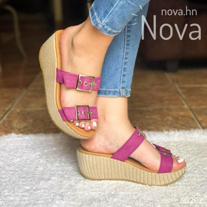 Sandalia Plataforma Mediana Ajustable De Gamuza. Elige Tu Color Favorito Fucsia / 34 Normal Zapatos