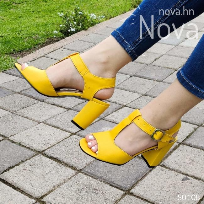 Zapato Unido De En Medio Tacon 9 Centimetros Alto Amarillo / 35 Normal Zapatos Medianos
