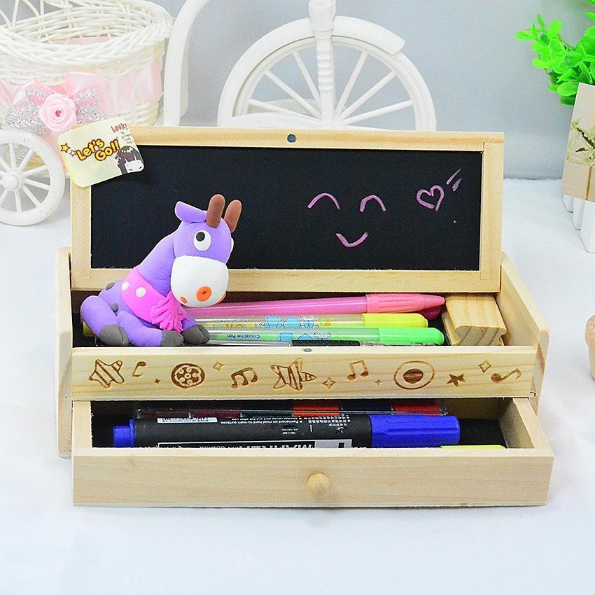 Multi-functional drawer with blackboard double pencil box sundry storage box - addlong