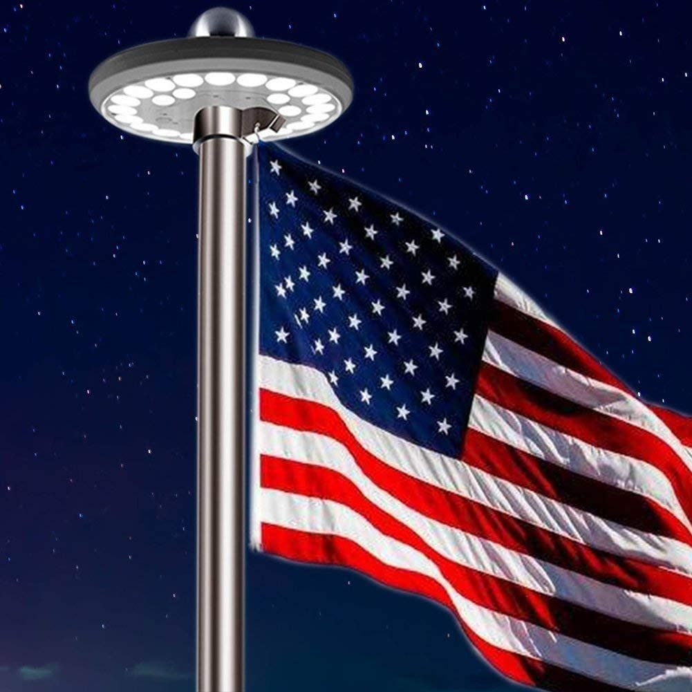 Solar Powered Flag Pole UFO Light