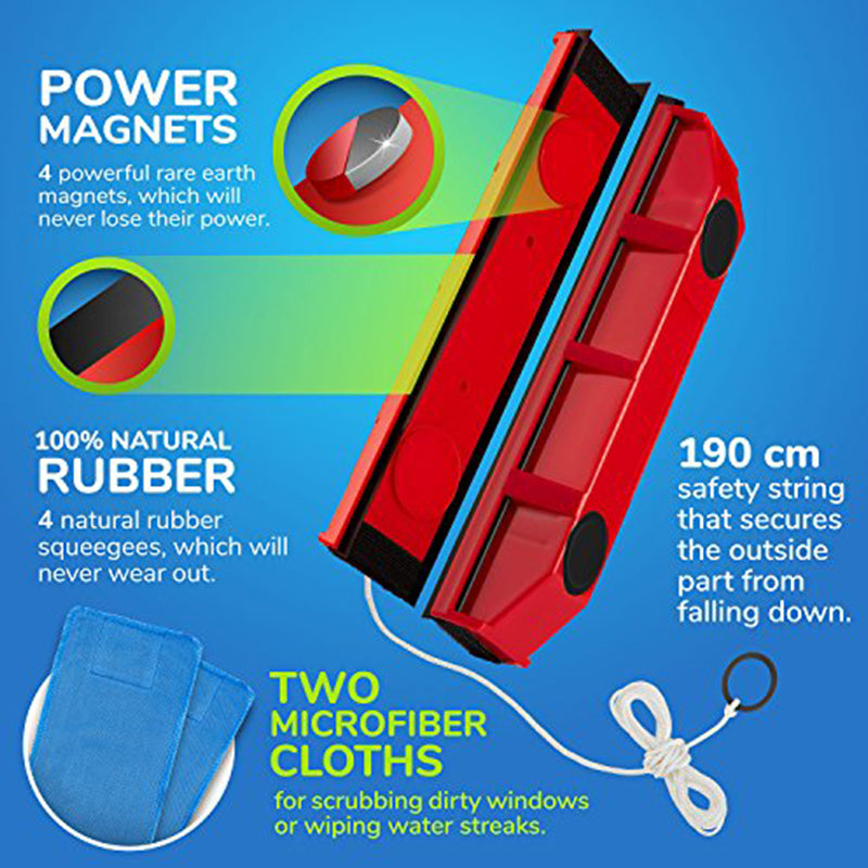 Double-sided magnetic glass wiper