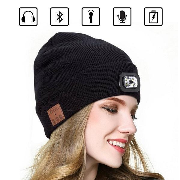 2019 NewBluetooth LED Beanie Hat Knit Cap Wireless Earphone Speaker