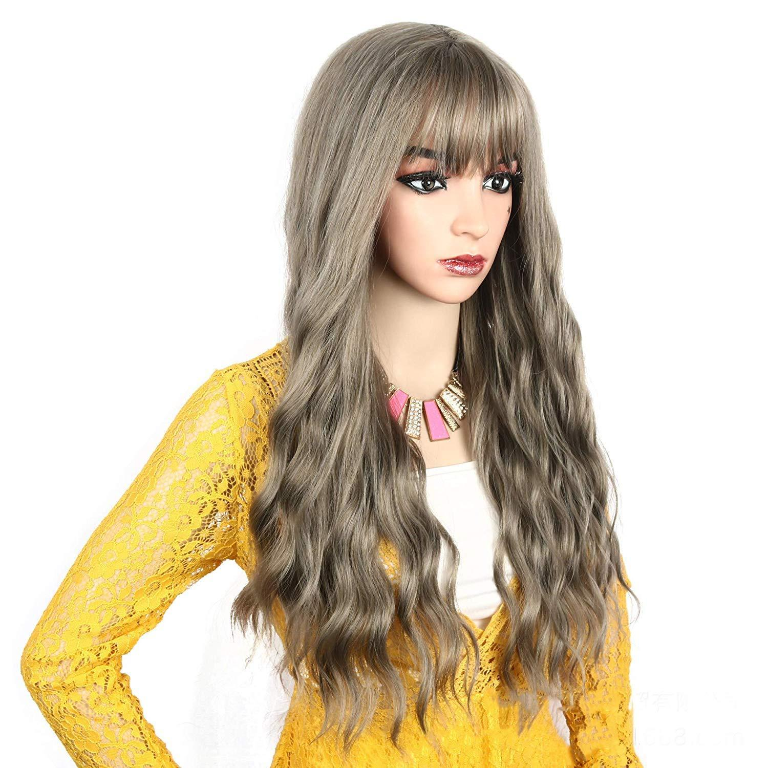 Women's Brown Wig Long Curly Wavy Hair Wigs