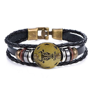 12 Constellations Bracelet 2019 Fashion Jewelry Leather Bracelet Men Casual Personality Zodiac Signs Punk Bracelet Wholesale