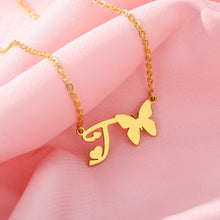 Load image into Gallery viewer, Butterfly Initial Necklace