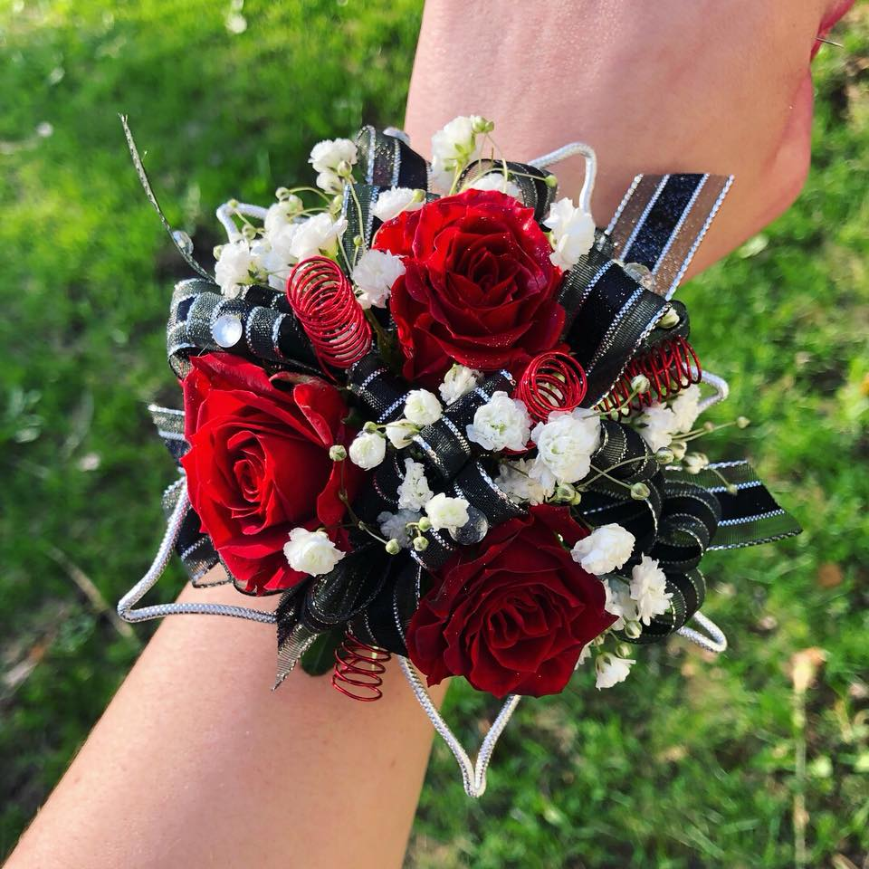 3 Red Sweetheart Roses with Black & Silver accents - Blooms In Bloom