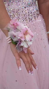 Alstromeria & Daisy Pomps with wristlet - Blooms In Bloom