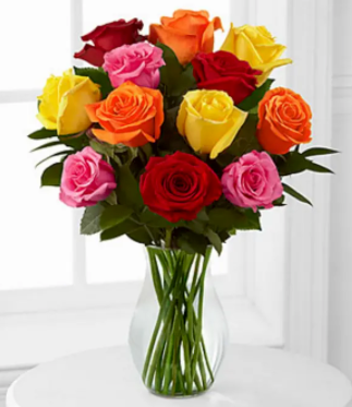 1 Dozen Multi-Colored Roses - Blooms In Bloom