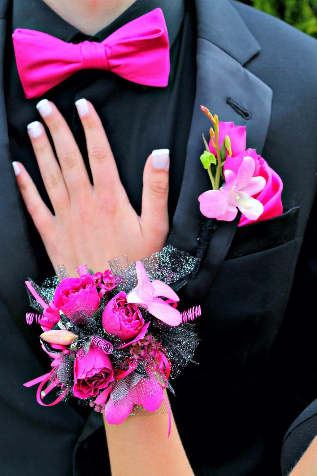COMBO Corsage & Bout Pink orchid & Roses with black accents - Blooms In Bloom