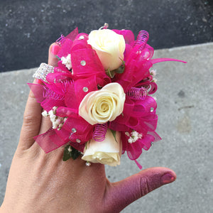 3 white sweetheart roses with hot pink accents - Blooms In Bloom