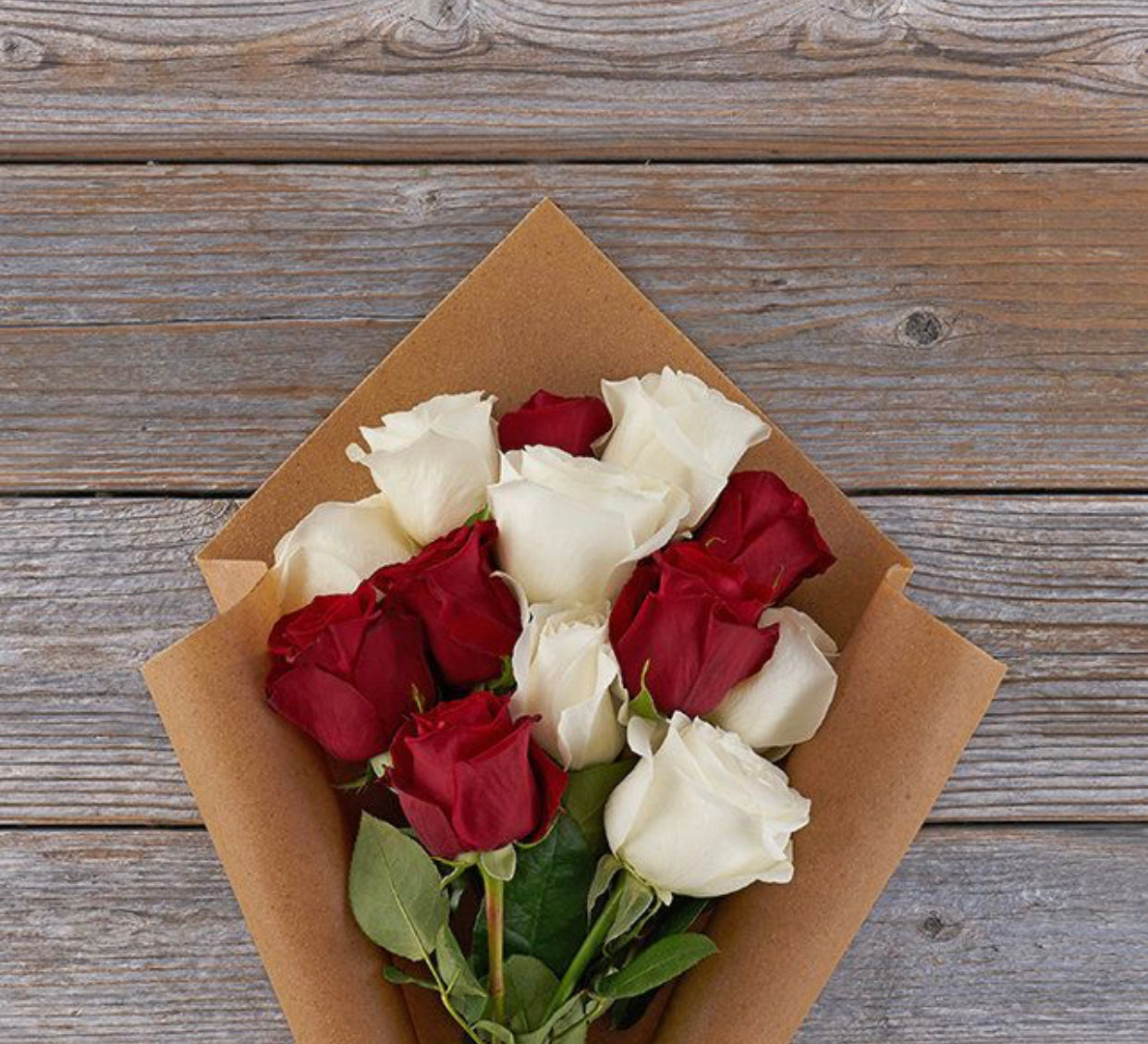 Dozen White & Red Roses - Blooms In Bloom