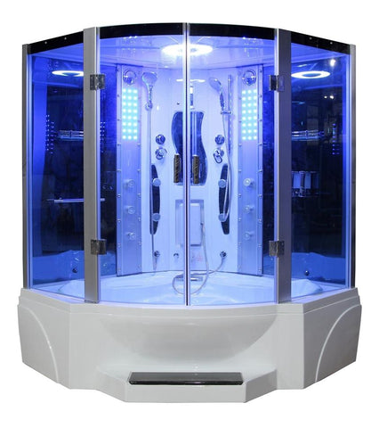 "Mesa 608P Steam Shower 63"" x 63"" x 85"" Blue Glass - BathVault"