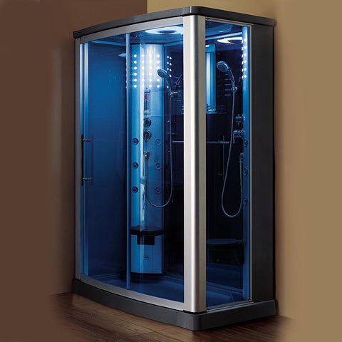 "Mesa 803L Steam Shower 54""L x 35""W x 85""H - Blue Glass - BathVault"