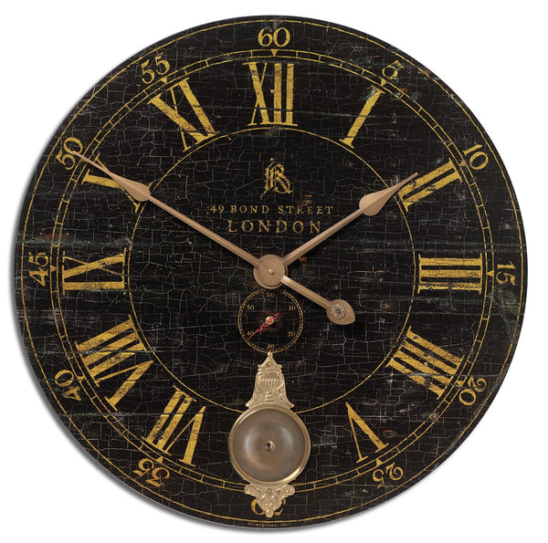 "Uttermost Bond Street 30"" Black Wall Clock 06030 - BathVault"