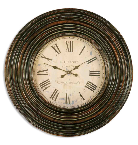 "Uttermost Trudy 38"" Wooden Wall Clock 06726 - BathVault"