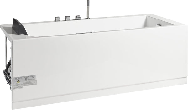 Eago 72 in. Acrylic Flatbottom Whirlpool Bathtub in White - BathVault