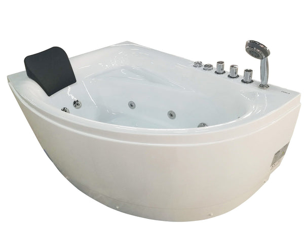 Eago 59 in. Acrylic Right Drain Corner Apron Front Whirlpool Bathtub in White - BathVault