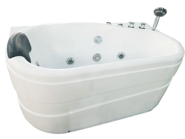 Eago 57 in. Acrylic Flatbottom Whirlpool Bathtub in White - BathVault