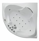 Eago 59 in. Acrylic Offset Drain Corner Apron Front Whirlpool Bathtub in White - BathVault