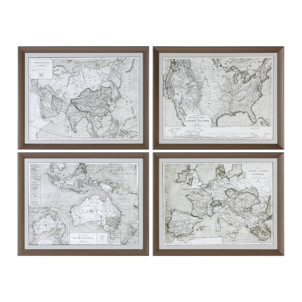 Uttermost World Maps Framed Prints S/4 33639 - BathVault