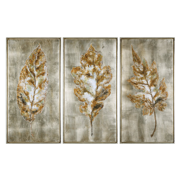 Uttermost Champagne Leaves Modern Art S/3 35334 - BathVault