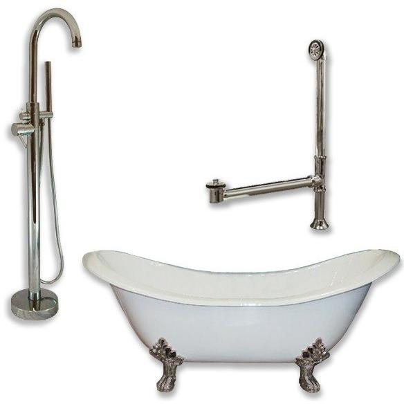 "Cambridge Plumbing Cast Iron Double Ended Slipper Tub Package 71"" X 30"" - BathVault"
