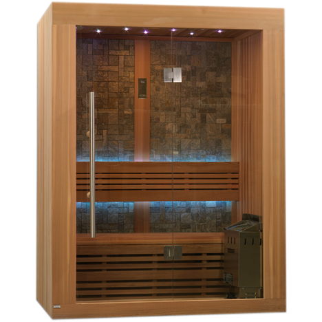 Golden Designs 2-3 Person Traditional Steam Sauna Vasteras Luxury Edition GDI-7289-01L - BathVault