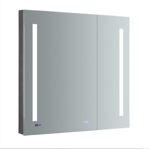 "Fresca Tiempo 36"" Wide x 36"" Tall Bathroom Medicine Cabinet w/ LED Lighting & Defogger - BathVault"