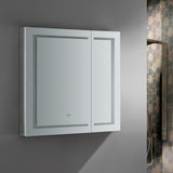 "Fresca Spazio 36"" Wide x 36"" Tall Bathroom Medicine Cabinet w/ LED Lighting & Defogger - BathVault"