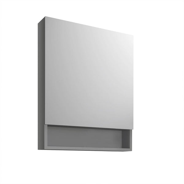 "Fresca 24"" Gray Bathroom Medicine Cabinet w/ Small Bottom Shelf - BathVault"