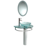 "Fresca Attrazione 30"" Modern Glass Bathroom Vanity w/ Frosted Edge Mirror - BathVault"